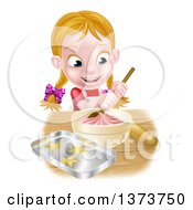 Clipart Of A Cartoon Happy White Girl Making Pink Frosting And Star Cookies Royalty Free Vector Illustration