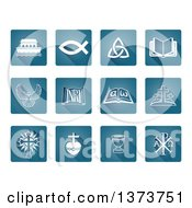 Clipart Of White Christian Icons On Blue Square Tiles Royalty Free Vector Illustration