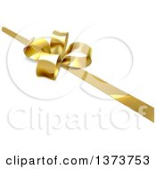 Clipart Of A 3d Gold Christmas Birthday Or Other Holiday Bow And Ribbon On A Gift Over Shaded White Royalty Free Vector Illustration