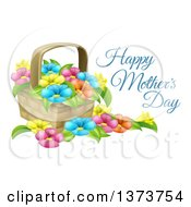 Clipart Of A Basket Full Of Colorful Flowers And Happy Mothers Day Text Royalty Free Vector Illustration