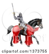 Clipart Of A 3d Full Armored Medieval Knight On A Black Horse Holding Up A Sword Royalty Free Vector Illustration