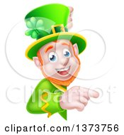 Cartoon Happy St Patricks Day Leprechaun Pointing Around A Sign