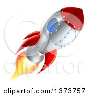 Clipart Of A Flying Rocket Ship Royalty Free Vector Illustration