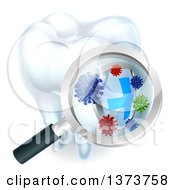 Clipart Of A 3d Magnifying Glass Discovering A Shield And Germs Or Bacteria On A Tooth Royalty Free Vector Illustration by AtStockIllustration