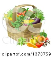 Clipart Of A Produce Basket Full Of Fresh Vegetables Royalty Free Vector Illustration