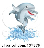 Clipart Of A Happy Cute Dolphin Splashing And Jumping Royalty Free Vector Illustration by AtStockIllustration