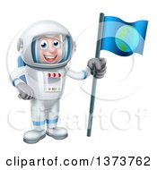 Happy White Male Astronaut In A Space Suit Holding An Earth Flag