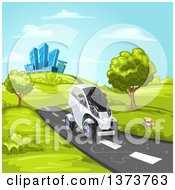 Clipart Of A Futuristic White Mini Car Driving On A Rural Road With A City In The Background Royalty Free Vector Illustration by merlinul