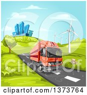 Poster, Art Print Of Yellow Big Rig Truck Driving On A Rural Road Near Wind Turbines With A City In The Background