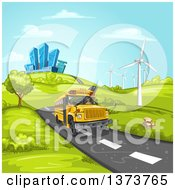 Clipart Of A Yellow School Bus Driving On A Road With Hills Buildings And Wind Turbines Royalty Free Vector Illustration