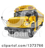 Clipart Of A Yellow School Bus Royalty Free Vector Illustration by merlinul