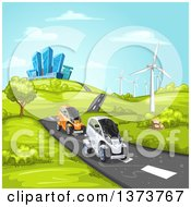 Clipart Of Futuristic Mini Cars Driving On A Rural Road With A Wind Farm And A City In The Background Royalty Free Vector Illustration