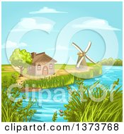 Clipart Of A House And Windmill Along A Stream Royalty Free Vector Illustration by merlinul