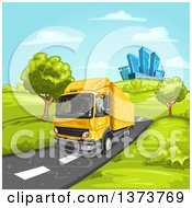 Clipart Of A Yellow Big Rig Truck Driving On A Rural Road With A City In The Background Royalty Free Vector Illustration by merlinul