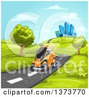 Clipart Of A Futuristic Orange Mini Car Driving On A Rural Road With A City In The Background Royalty Free Vector Illustration by merlinul