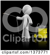 3d White Cleaning Lady Using A Pressure Washer On A Black Background