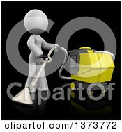 3d White Cleaning Lady Operating A Carpet Cleaner On A Black Background
