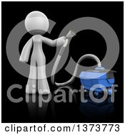 3d White Cleaning Lady Using A Rug Cleaner On A Black Background