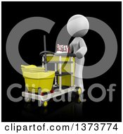 Clipart Of A 3d White Cleaning Lady Pushing A Cart On A Black Background Royalty Free Illustration