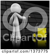 Clipart Of A 3d White Cleaning Lady Cleaning A Roof On A Black Background Royalty Free Illustration