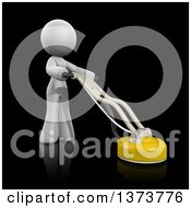 Clipart Of A 3d White Cleaning Lady Using A Tile And Grout Cleaner On A Black Background Royalty Free Illustration