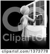 Clipart Of A 3d White Cleaning Lady Washing Windows On A Black Background Royalty Free Illustration