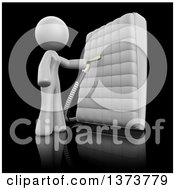 Clipart Of A 3d White Cleaning Lady Sanitizing A Mattress On A Black Background Royalty Free Illustration
