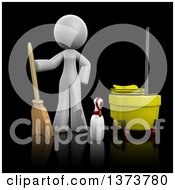 3d White Office Cleaning Lady With Equipment On A Black Background