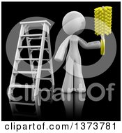 Clipart Of A 3d White Cleaning Lady Working After A Renovation On A Black Background Royalty Free Illustration