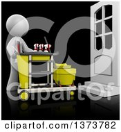 Clipart Of A 3d White Cleaning Lady With A Cart On A Black Background Royalty Free Illustration