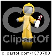 3d White Cleaning Lady At A Crime Scene On A Black Background