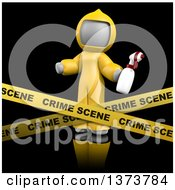 Clipart Of A 3d White Cleaning Lady At A Crime Scene On A Black Background Royalty Free Illustration by Leo Blanchette