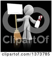 3d White Cleaning Lady Holding A Broom And Spray Bottle With A Sign On A Black Background