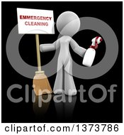 Clipart Of A 3d White Cleaning Lady Holding A Broom And Spray Bottle With An Emergency Cleaning Sign On A Black Background Royalty Free Illustration