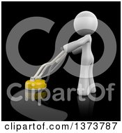 3d White Cleaning Lady Polishing A Floor On A Black Background