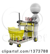 Clipart Of A 3d White Cleaning Lady Pushing A Cart On A White Background Royalty Free Illustration