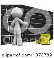 Clipart Of A 3d White Cleaning Lady Cleaning A Roof On A White Background Royalty Free Illustration