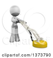 3d White Cleaning Lady Using A Tile And Grout Cleaner On A White Background