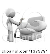 Clipart Of A 3d White Cleaning Lady Using An Upholstery Cleaner On A Chair On A White Background Royalty Free Illustration