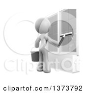 Clipart Of A 3d White Cleaning Lady Washing Windows On A White Background Royalty Free Illustration