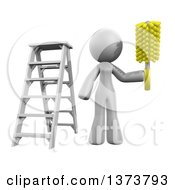 Clipart Of A 3d White Cleaning Lady Working After A Renovation On A White Background Royalty Free Illustration by Leo Blanchette