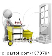 Clipart Of A 3d White Cleaning Lady With A Cart On A White Background Royalty Free Illustration