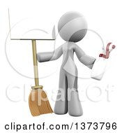 3d White Cleaning Lady Holding A Broom And Spray Bottle With A Sign On A White Background