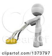 3d White Cleaning Lady Polishing A Floor On A White Background