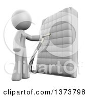 Clipart Of A 3d White Cleaning Lady Sanitizing A Mattress On A White Background Royalty Free Illustration