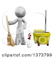3d White Office Cleaning Lady With Equipment On A White Background