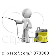 3d White Cleaning Lady Using A Pressure Washer On A White Background