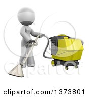 Clipart Of A 3d White Cleaning Lady Operating A Carpet Cleaner On A White Background Royalty Free Illustration