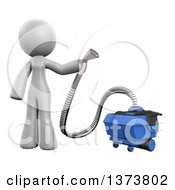 3d White Cleaning Lady Using A Rug Cleaner On A White Background