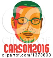Clipart Of A Retro WPA Styled Portrait Of Republican Presidential Nominee Ben Carson Over Text Royalty Free Vector Illustration